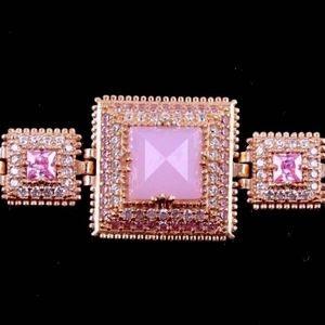 Pink Quartz Sterling Silver Bracelet